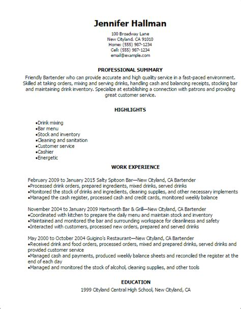 restaurant bar resume templates to impress any employer