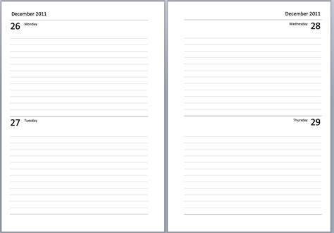 templates for word 2 pages philofaxy a5 undated diary layouts