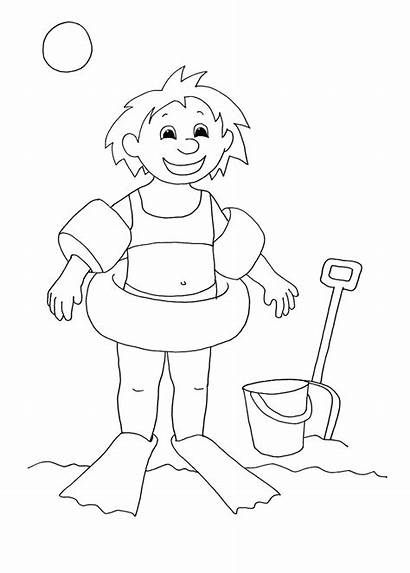 Coloring Pages Summer Beach Swimming Clip Drawing