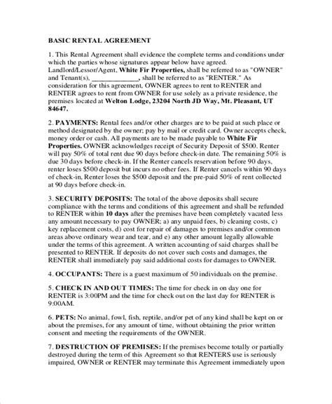 sample basic rental agreement forms