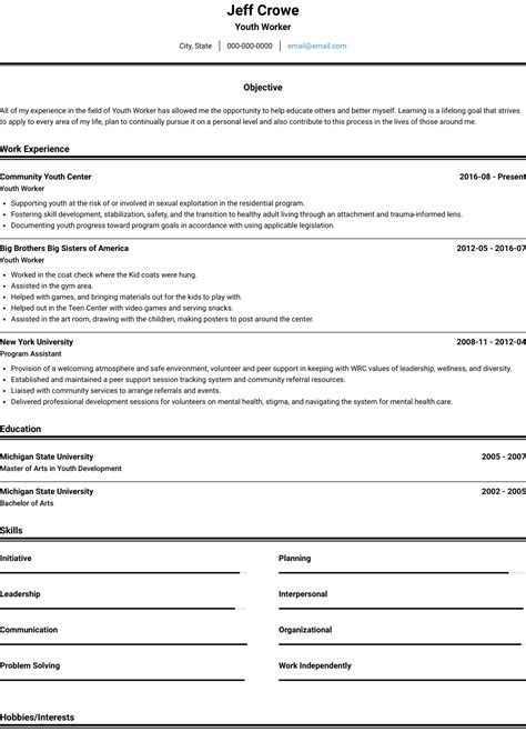 youth worker resume sles and templates visualcv