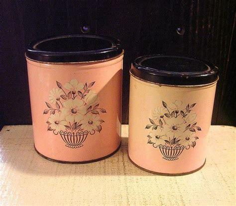 tin kitchen canisters two pink vintage tin metal kitchen canisters