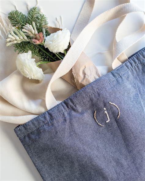 embroidered monogram tote bag diy flax twine
