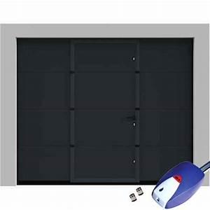 porte de garage sectionnelle lisse grise avec portillon With porte de garage motorisée avec portillon
