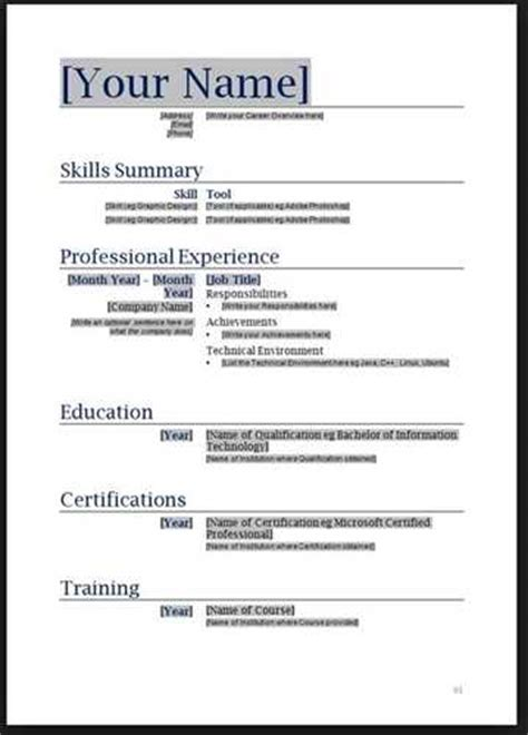 Resume Layout Exle by Basic Resume Layout Free Resume Templates