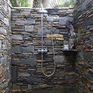 Outdoor shower design ideas showing beautiful tiled and