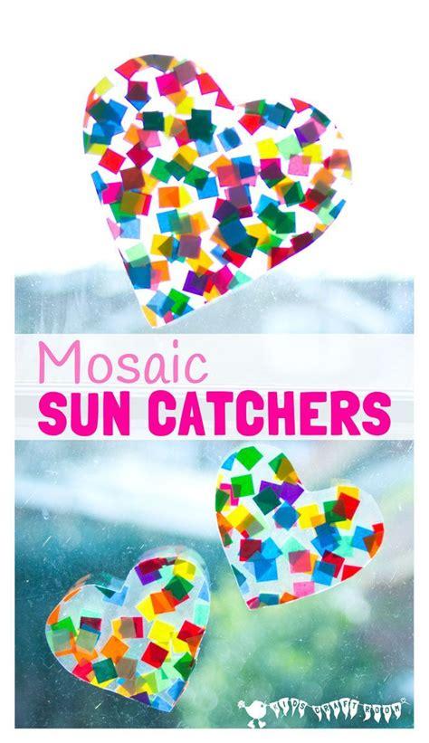 heart suncatcher mosaics mosaics  kids crafts fun