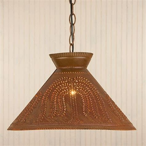 punched tin shade light in rustic tin