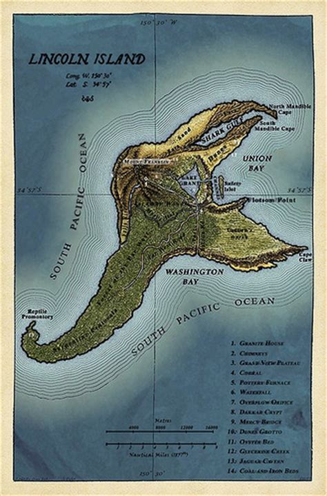 Map Of Lincoln Island  Lincoln Island As Described In