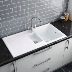 white kitchen sink faucet reginox white ceramic 1 5 bowl kitchen sink at plumbing uk customer reviews
