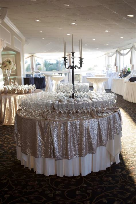 champagne sequin tablecloth size