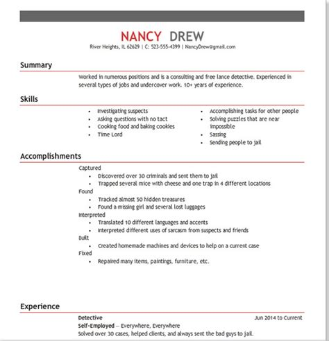 Fictional Character Resume Exle nancy s resume 2014 interactive