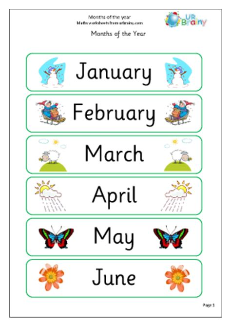 months of the year time maths worksheets for year 1 age 5 6