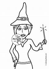 Witch Coloring Halloween Printable Pages Wand Drawing 4kids sketch template
