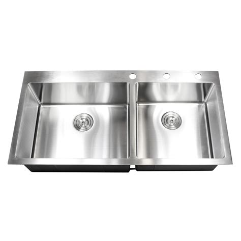 kitchen sink package 42 inch top mount drop in stainless steel 60 40 2809