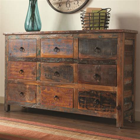 Kitchen Drawer Ideas - india antique accent cabinet console table rustic reclaimed wood mix teak drawer ebay