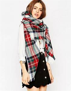 asos asos oversized square scarf in white based check With echarpe plaid carreaux