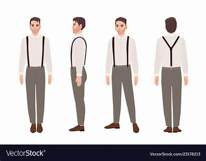 Suspenders Shirt Vector Wearing Trousers