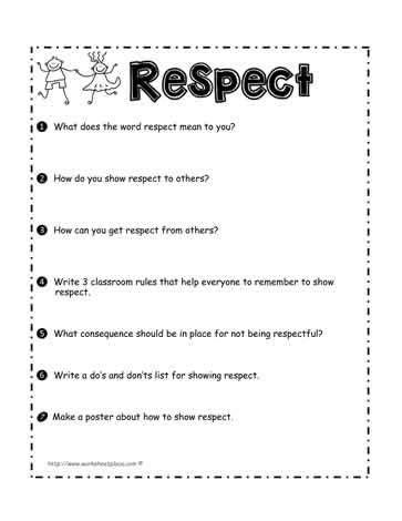 respect worksheet student voice teaching respect
