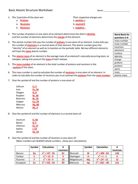 worksheet basic atomic structure worksheet answers grass