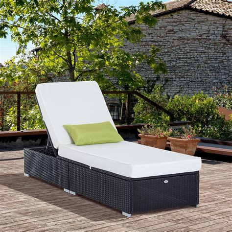 outsunny rattan lounge outdoor sun lounger patio wicker