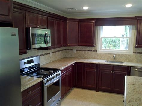 L Shaped Kitchen Layout Ideas - buy cherry glaze kitchen cabinets online