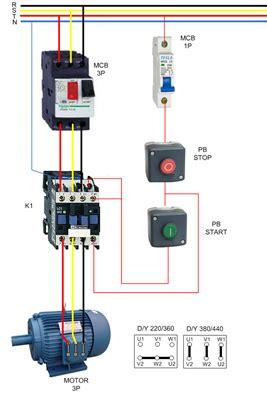 direct   dol motor starter  stop engineering