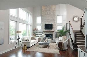 two story height great room inspiration with stacked