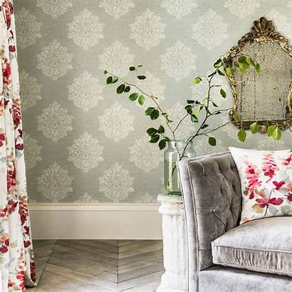 Sanderson Laurie Wallpapers Waterperry Charcoal Wall Silkinteriors
