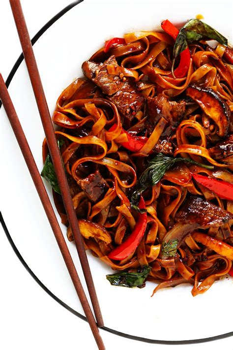 thai basil beef noodle stir fry gimme  oven