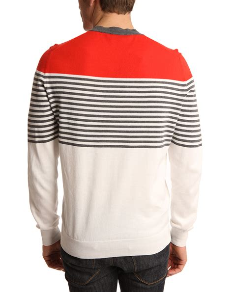 and white striped sweater dunhill navy and white striped v neck sweater in