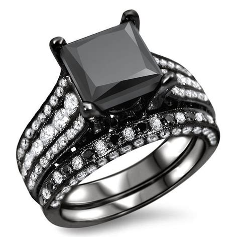 4 03ct black princess cut diamond engagement ring wedding band 18k black gold front jewelers
