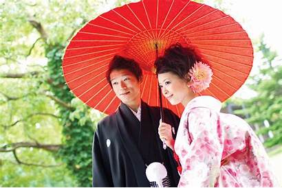 Japanese Traditional Traditions Weddings Bride Groom Umbrella