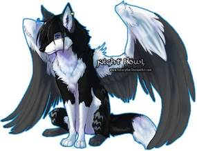 Blue and Black Wolves with Wings
