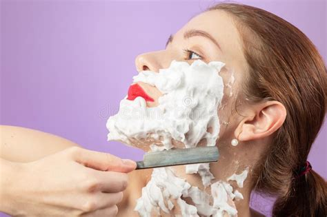 funny man shave face full of shaving cuts isolated stock
