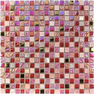 Glas Mosaikfliesen Naturstein Rot Rosa Gold TM33101m