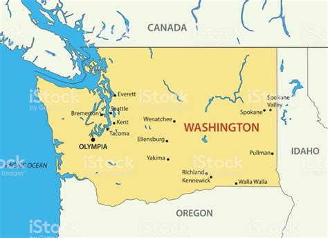 washington vector map stock illustration  image