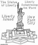Liberty Statue Coloring Drawing Line Island Getdrawings Building sketch template