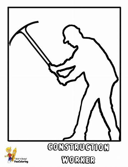 Construction Coloring Worker Pages Yescoloring Gritty Axe