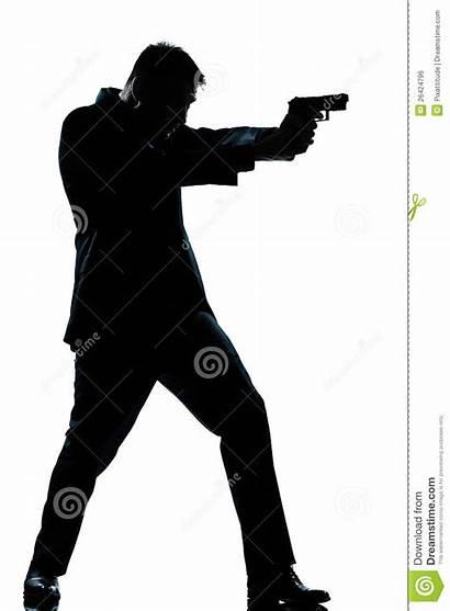 Gun Silhouette Clipart Shooting Pointing Spy Length