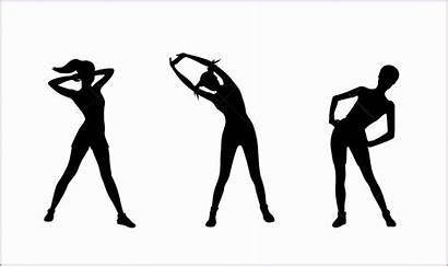 Silhouette Exercise Clipart Workout Fitness Pencil Stretching