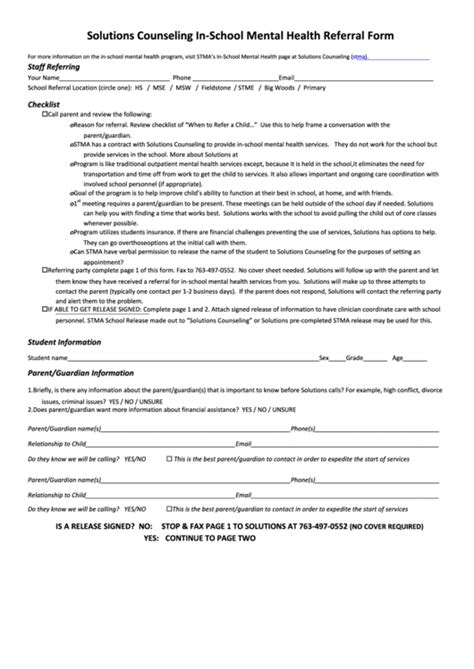 solutions counseling  school mental health referral form