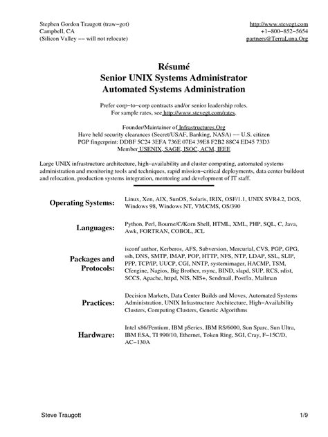 Unix Administrator Resume by Exle Of Cv Writeup
