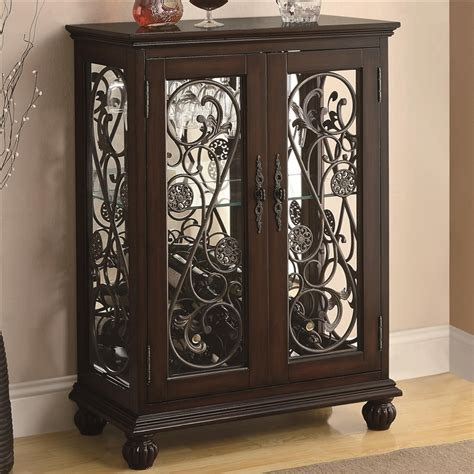 wine rack cabinet  metal scroll accents  coaster