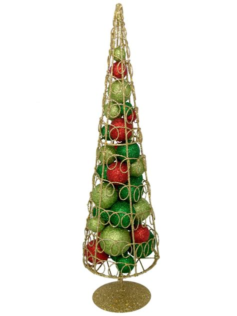 gold glitter wire cone table top tree with baubles 45cm