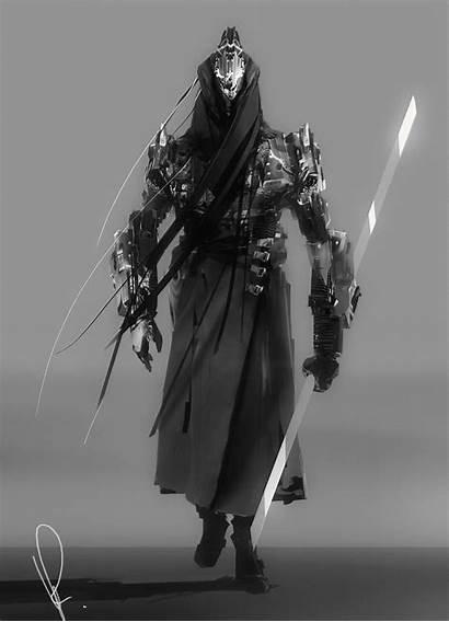 Artstation Walking Cyberpunk Samurai Concept Artwork Sketch