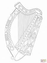 Harp Irish Coloring Celtic Drawing Symbols Tattoo Ireland Printable Drawings Supercoloring Dot Paintingvalley Bible sketch template