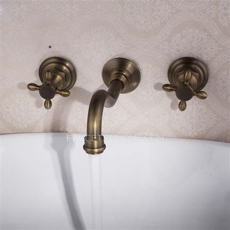vintage wall mount three antique brass bathroom faucets
