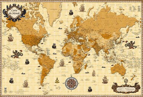 poster pour chambre adulte carte du monde antique my