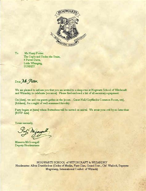 hogwarts letter template ideas  pinterest